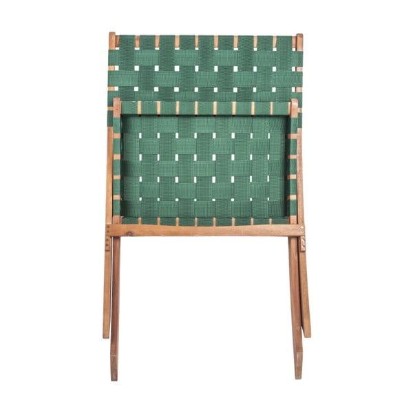 Zelená židle z akáciového dřeva s nylonovým potahem Leitmotiv Weave