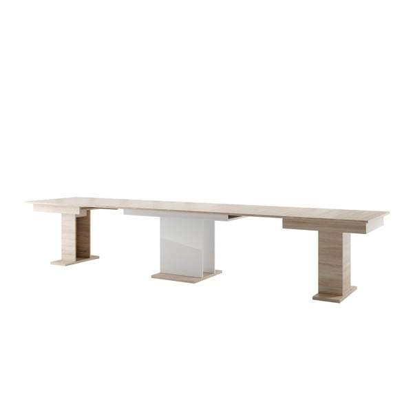 Rozkládací jídelní stůl v dekoru světlého dubového dřeva s bílou deskou Szynaka Meble Star 6