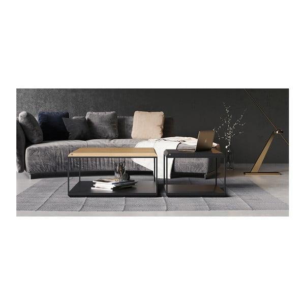 Černý konferenční stolek s deskou z dubového dřeva take me HOME, 80x80cm