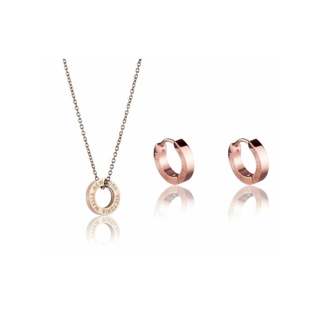 Set náhrdelníku a náušnic z chirurgické oceli v barvě růžového zlata Victoria Walls Hope