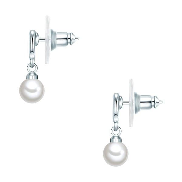 Náušnice s bílou perlou Perldesse Sei, ⌀6 mm