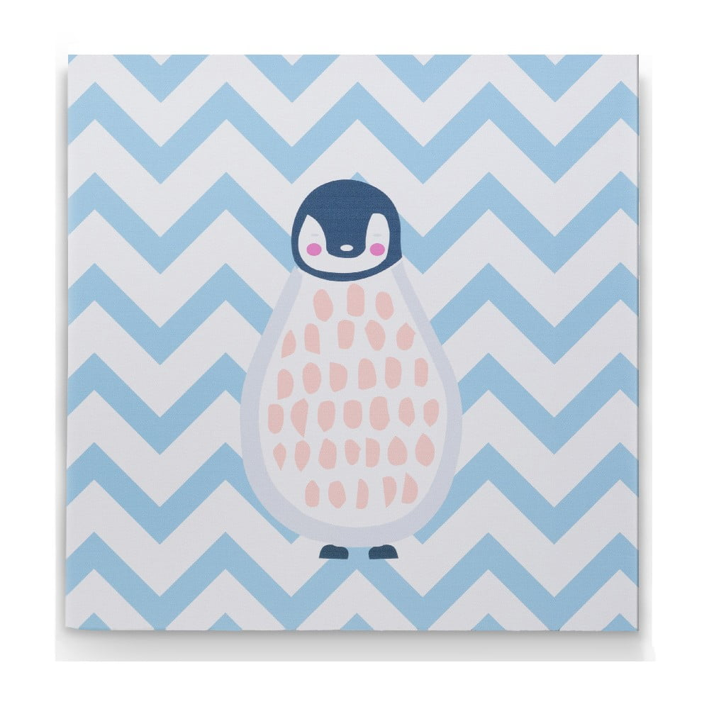Nástěnný dřevěný obraz s motivem tučňáků KICOTI Blue, 40 x 40 cm