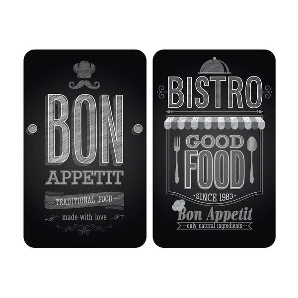 Set 2 protecții din sticlă pentru aragaz Wenko Bon Appetit,52x30cm