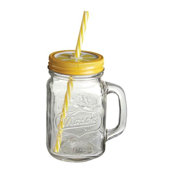 Üvegpohár sárga fedéllel és szívószállal, 450 ml - Premier Housewares