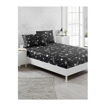 Lenjerie de pat cu cearșaf elastic și 2 fețe pernă Starry Night, 160 x 200 cm, negru de la EnLora Home