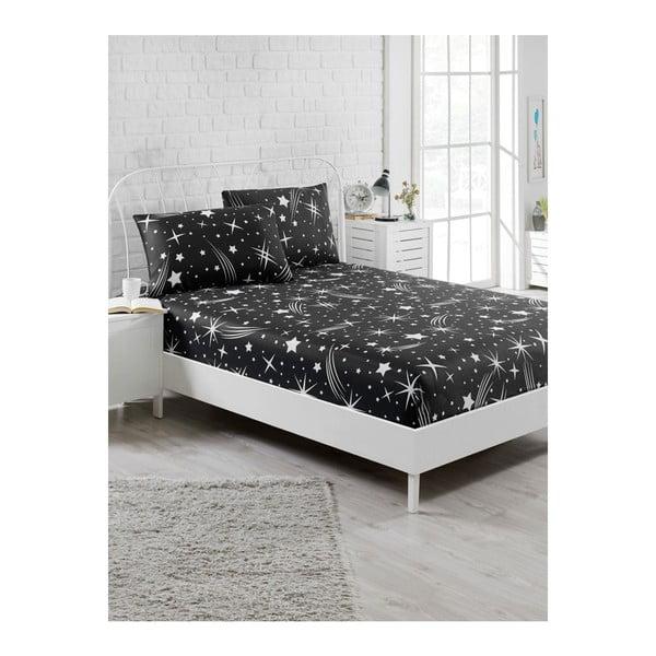 Starry Night fekete elasztikus lepedő és 2 párnahuzat szett egyszemélyes ágyhoz, 160 x 200 cm