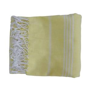 Prosop țesut manual din bumbac premium Sultan, 100 x 80 cm, galben