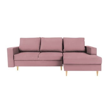 Colțar extensibil cu șezlong pe partea dreaptă Mazzini Sofas Iris, roz de la Mazzini Sofas