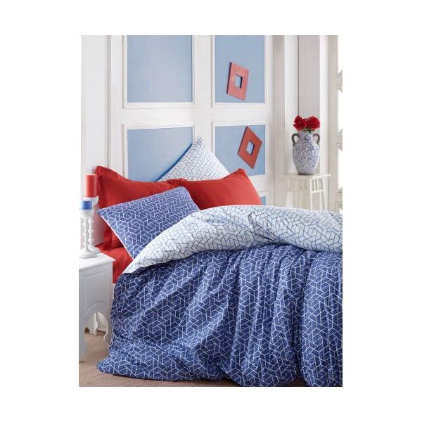 Pave kétszemélyes kék színű, pamut ágyneműhuzat lepedővel, 200 x 220 cm