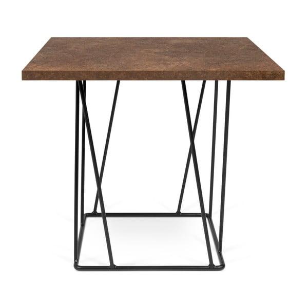 Helix barna dohányzóasztal fekete lábakkal, 50 x 50 cm - TemaHome