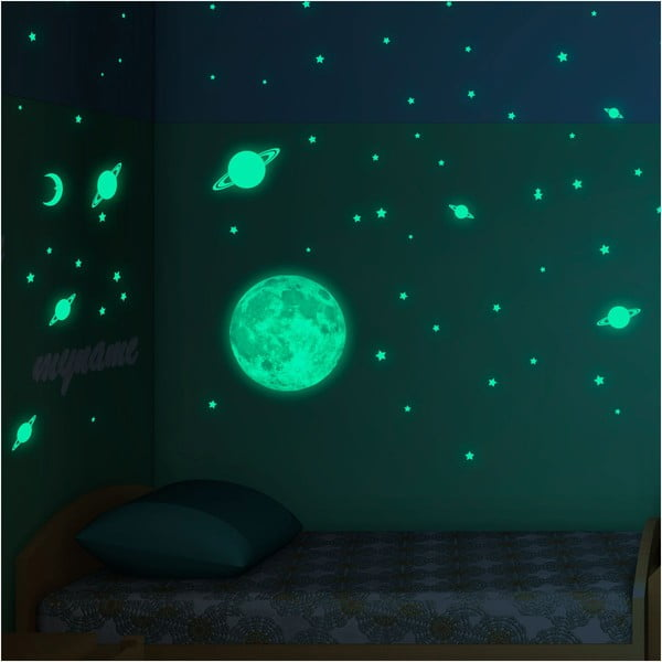 Set autocolante fosforescente de perete Ambiance Moon Stars and Planet