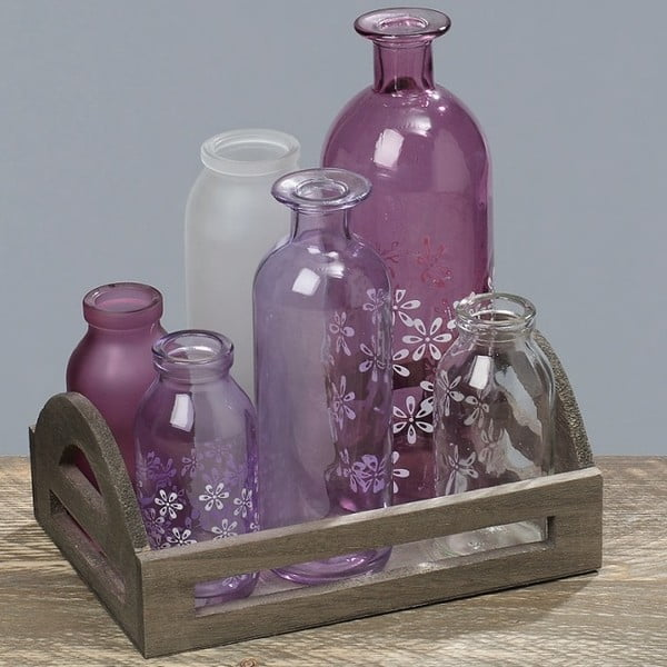 Sada podnosu s 6 vázami Purple Vase