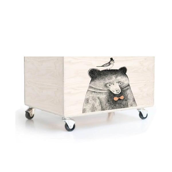 Dřevěná krabice na kolečkách Little Nice Things Bear