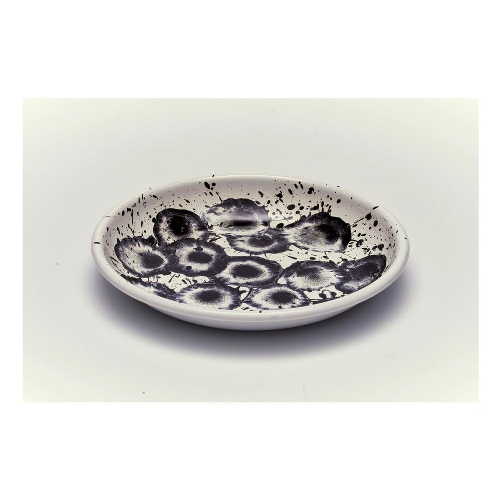 Černobílý smaltovaný talíř Kapka Floral Madness, Ø24,5cm