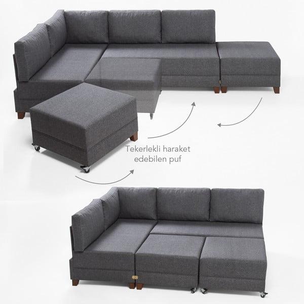 Canapea extensibilă cu 2 blaturi Balcab Home Diana, partea stângă, gri