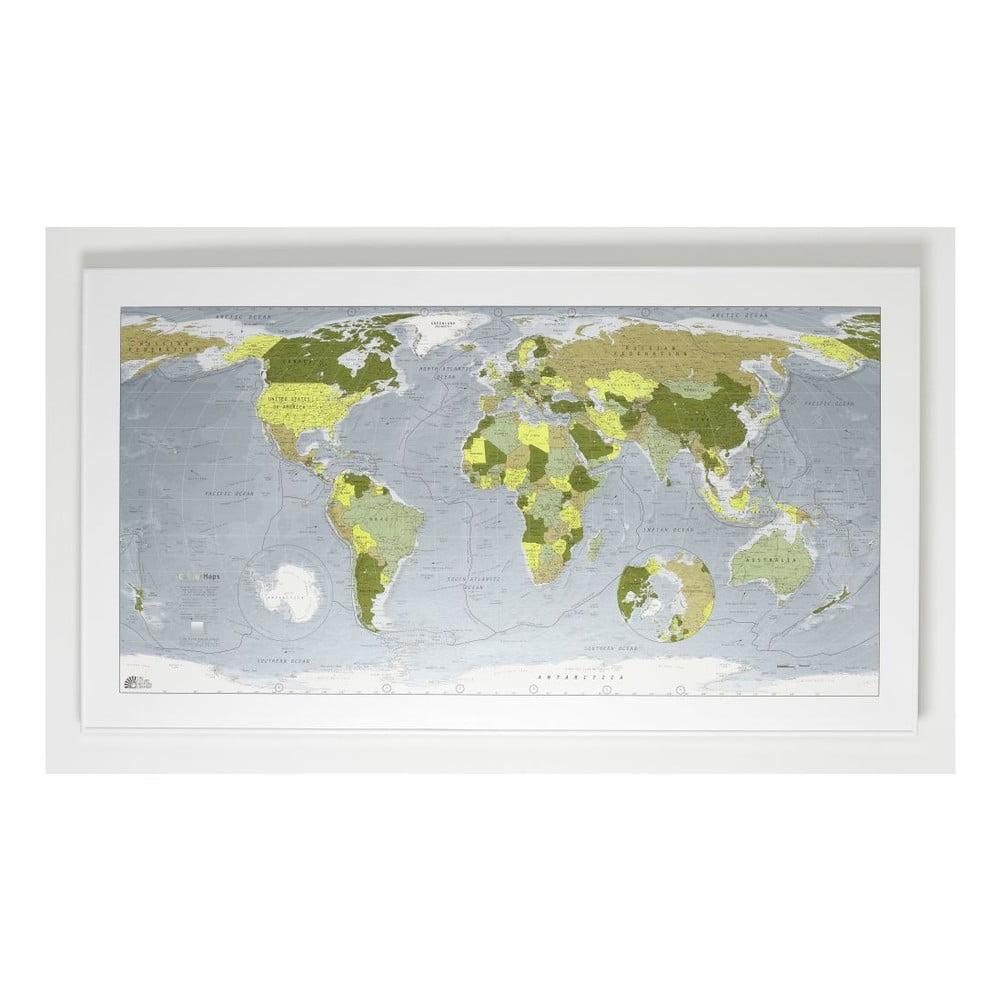 Zelená magnetická mapa světa The Future Mapping Company Colour Map, 130x72cm