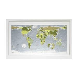 Zelená mapa světa The Future Mapping Company Colour Map, 130x72cm