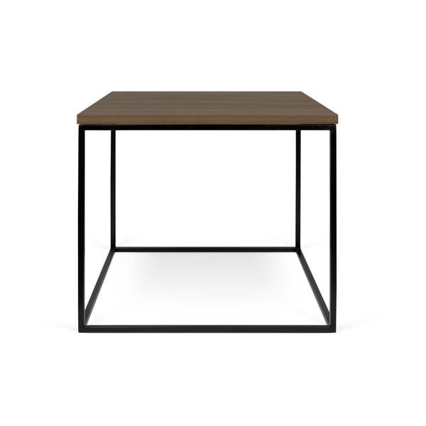 Odkládací stolek s deskou v dekoru ořechu a černýma nohama TemaHome Gleam
