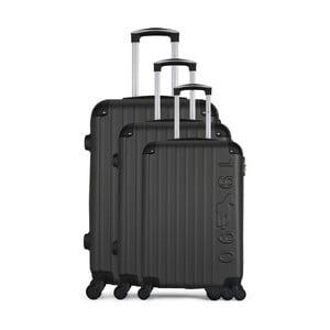 Sada 3 tmavě šedých cestovních kufrů na kolečkách GENTLEMAN FARMER Cadenas Integre