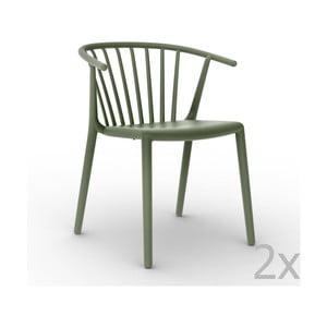 Sada 2 zelených zahradních židlí Resol Woody