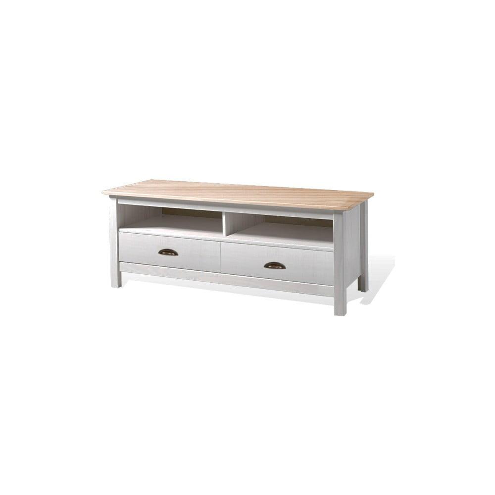 Bílý TV stolek z borovicového dřeva se 2 zásuvkami SOB Irelia