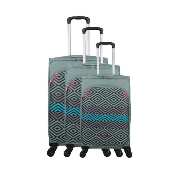Zestaw 3 zielonych walizek z 4 kółkami Lulucastagnette Peruana