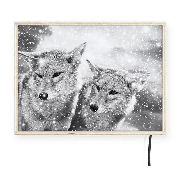 Decorațiune luminoasă pentru perete, model lup, Surdic, 40 x 30 cm
