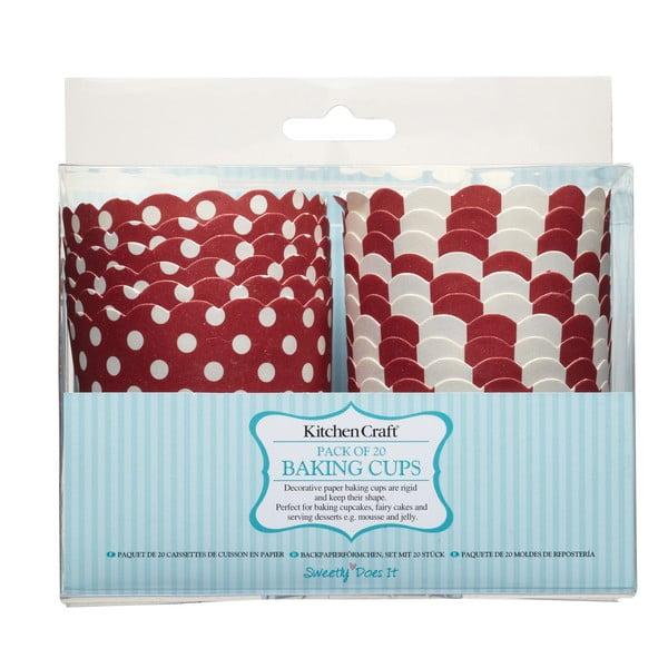 Sada 20 papírových košíčků na muffiny Kitchen Craft Red Sweetly Does It