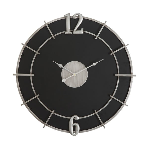 Czarny zegar ścienny Mauro Ferretti Glam, ø 60 cm