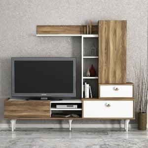 Set TV komody a nástěnných skříněk v dekoru ořechového dřeva Destina