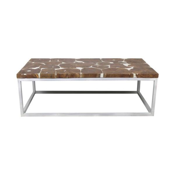 Konferenční stolek s deskou z teakového dřeva a bílým podnožím HSM collection Resin, délka120cm