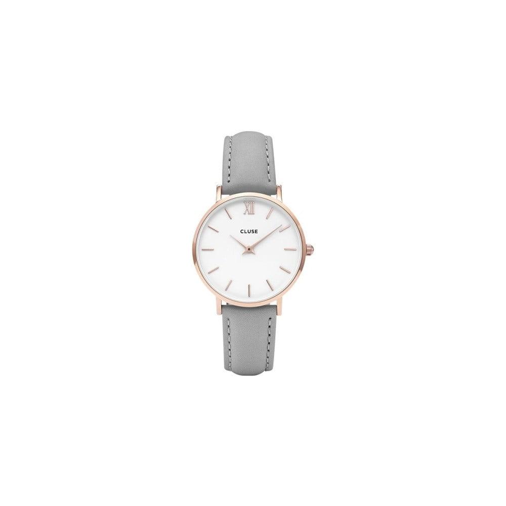 Dámské šedé hodinky s koženým řemínkem a detaily v růžovozlaté barvě Cluse  Minuit b2f11c4633