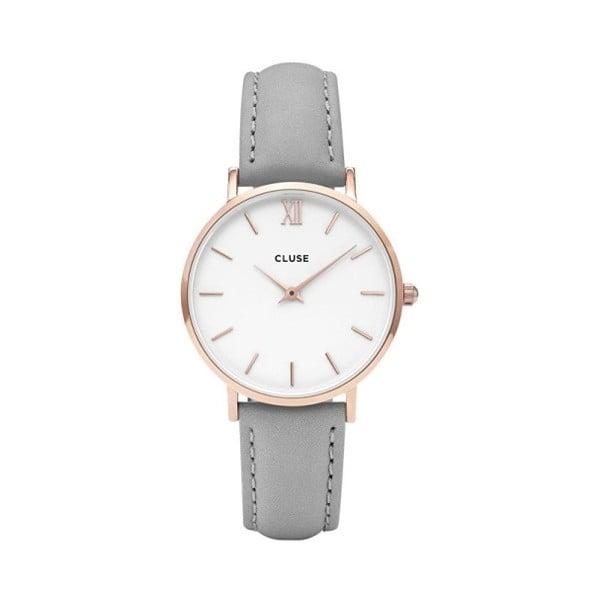 Dámske sivé hodinky s koženým remienkom a detailmi v ružovozlatej farbe Cluse Minuit