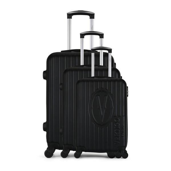 Sada 3 černých cestovních kufrů na kolečkách VERTIGO Cadenas Integre Roues