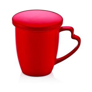 Červený porcelánový hrnek s víkem Kirmizi Kapakli Kupa
