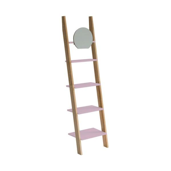 Světle růžová dřevěná opěrná police se zrcadlem Ragaba Ashme Ladder