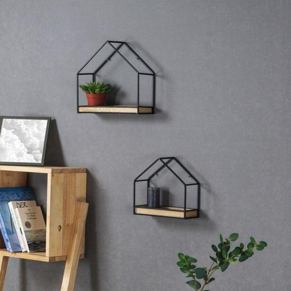 Set 2 rafturi de perete cu structură metalică Furtniteam House