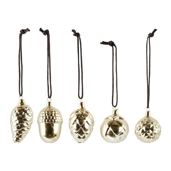 Sada 5 vánočních keramických dekorací Villa Collection Ceramic Gold Shiny