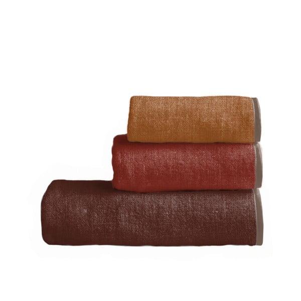Sada 3 ručníků Linen Couture Toalla Red Gradient