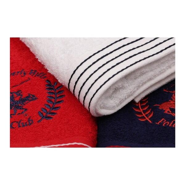 Sada bílého, tmavě modrého a červeného ručníku Beverly Hills Polo Club Horses, 90x50cm