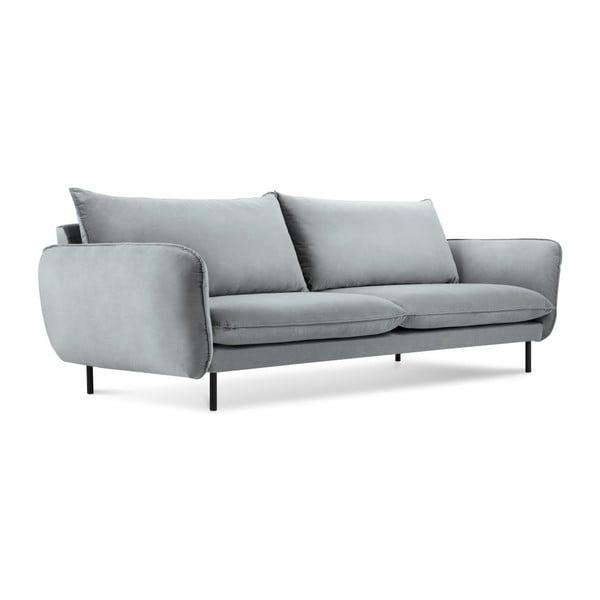 Jasnoszara aksamitna sofa Cosmopolitan Design Vienna, 200 cm