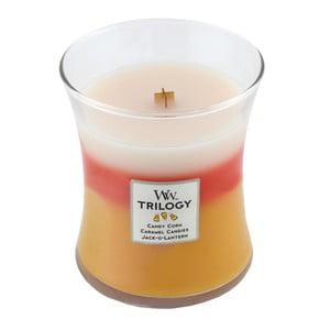 Lumânare parfumată WoodWick Trilogy, aromă de caramel și bomboane, 60 ore