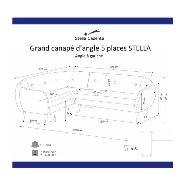 Colțar cu șezlong pe partea stângă Scandi by Stella Cadente Maison, verde închis