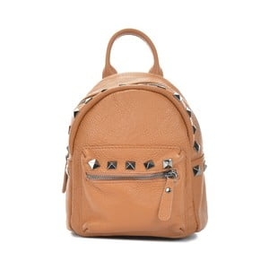 Koňakově hnědý kožený batoh Mangotti Bags Agnese