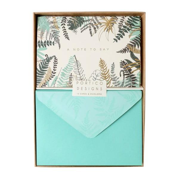 Sada 10 darčekových pohľadníc s obálkami Portico Designs FOIL Ferns