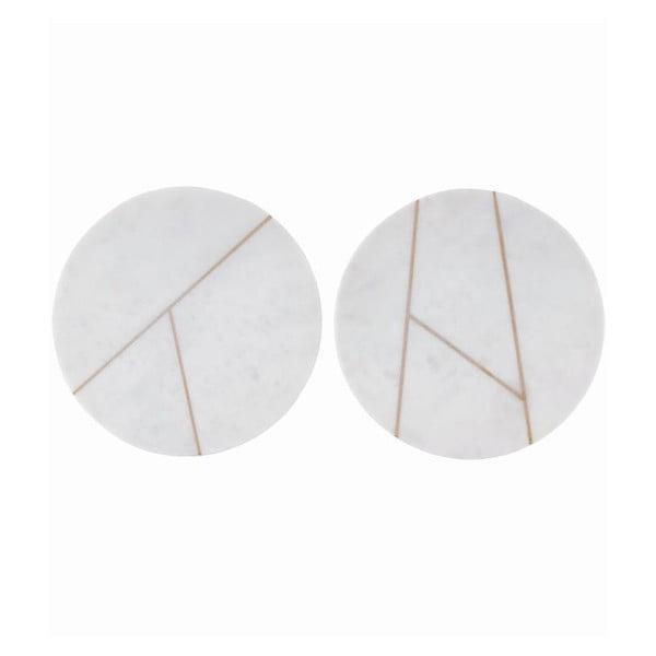 Sada 2 mramorových podložek Marble White, 18 cm