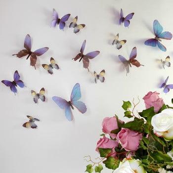 Set autocolante 3D Ambiance Butterflies albastru 18 buc.