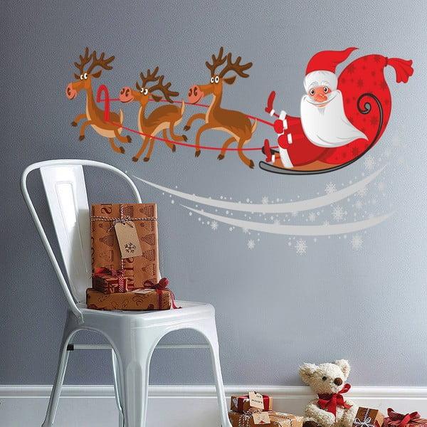 Samolepka na stěnu Santa na saních, 90x60 cm