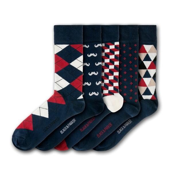 Sada 5 párov unisex ponožiek Black&Parker London Holbrook Garden, veľkosť 37 - 43