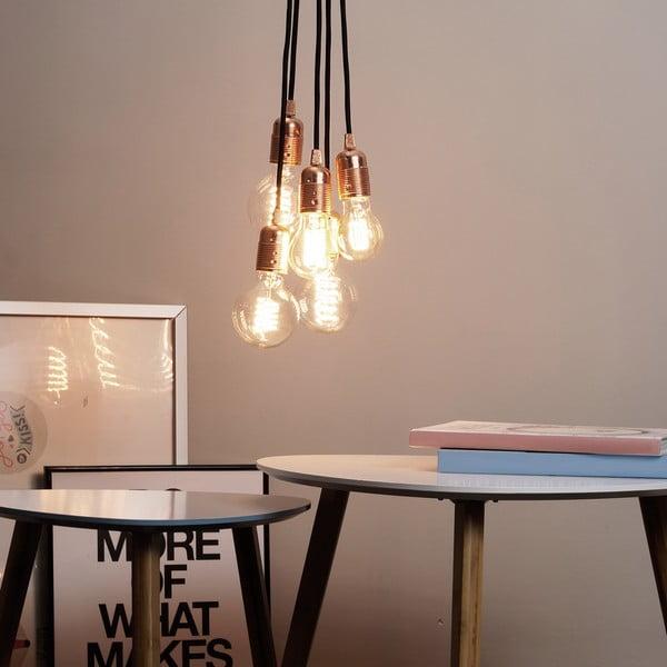 Závěsné svítidlo s 5 černými kabely a objímkou v měděné barvě Bulb Attack Uno Group